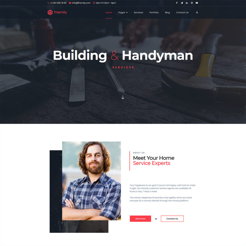 Handyman free responsive WordPress theme