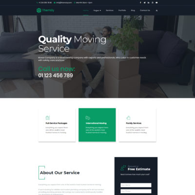 WordPress theme for local movers company