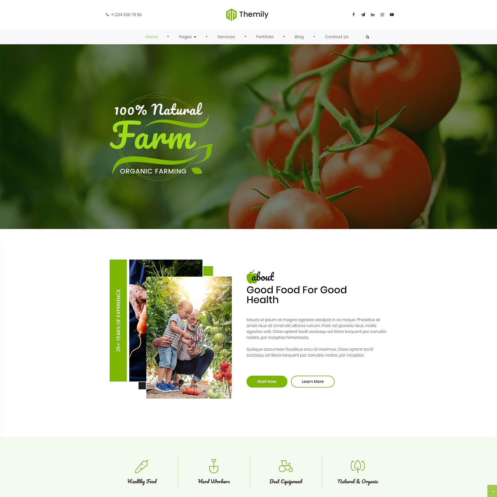 Free WordPress theme for organic farming and plants growing