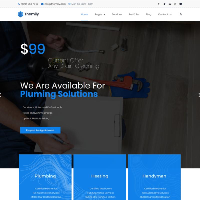 free wordpress theme for plumber