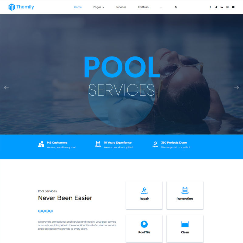 pool cleaning free wordpress theme
