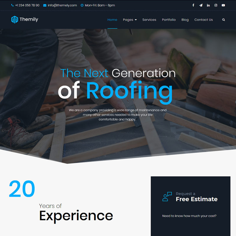 free roofing wordpress themes