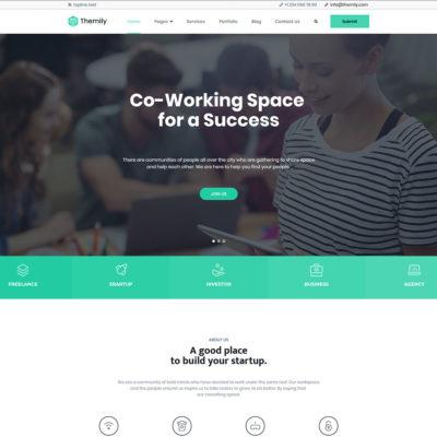 free coworking space WordPress theme